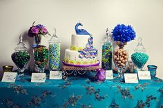 Peacock Themed Candy Buffet Table