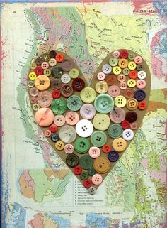 vintage earth map heart button mixed media print by bettyandmaude...