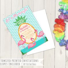 """Celebrate a birthday with this sweet awesome Flamingo invite.  Features an aqua and white chevron background, a fun pineapple text area and three flamingos in the water.  The text reads, """"Let's Flamingle"""".  This invite works well for a pool party as well!    You will receive 25 - 5"""" x 7"""" high quality invites printed on thick paper with white envelopes.  --- HOW IT WORKS ---  Please provide the following information during checkout: • Name(s) • Date / Time • Locati..."""