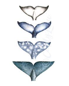 4 impresión de acuarela de colas de ballena ballena arte