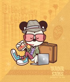 """NEW Hipster Mickey Hanging at Sam's to debut October at WonderGround Gallery in the Downtown Disney District at the Disneyland Resort. I'll be there from PM Sat - Jerrod Maruyama Disney Mickey Mouse, Mickey Mouse Y Amigos, Walt Disney, Downtown Disney, Mickey Mouse And Friends, Disney Magic, Disney Art, Minnie Mouse, Disney Cruise"