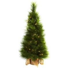 Nearly Natural 3-foot Christmas Tree with Burlap Bag and Clear Lights ($27) ❤ liked on Polyvore featuring home, home decor, holiday decorations, brown, holiday decor, holiday home decor, burlap home decor and christmas holiday decorations