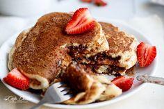 Chocolate or Nutella Stuffed Churro Pancakes @FoodBlogs