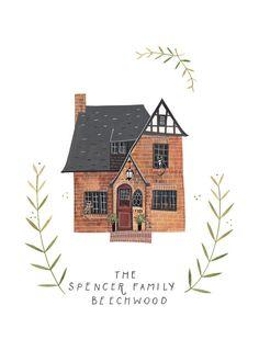 Custom illustrated house by Rebekka Seale