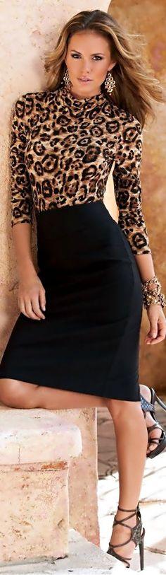 Pencil skirt, leopard top                                                                                                                                                                                 More