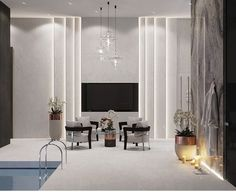 marble feature wall in living room with low wide fireplace and wood wall feature? Luxury Rooms, Luxury Living, Luxury Interior, Modern Interior, Interior Architecture, Tv Console Design, Tv Wall Design, Interior Design Living Room, Living Room Designs