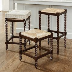 $89 Ballard design Our Justine Backless Barstool blends serves up rich texture with casual comfort. Frame is crafted of solid beech wood with individually hand carved turnings.