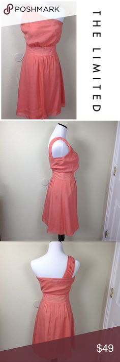 The Limited Flowing One Shoulder Apricot Dress Beautiful one shoulder apricot dress with full skirt. Beautiful soft and flowing dress that is perfect for a wedding or any summer event. In excellent condition. Bust- 15 1/2 arm pit to arm pit; Waist-26; Length-37 The Limited Dresses One Shoulder