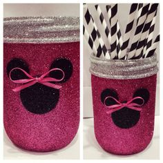 Custom Minnie Mouse inspired Mason Jar! Hand Glittered in Hot Pink, Black, and Silver. Perfect for a Minnie Mouse party or as a make up brush holder. Find me on Instagram or Facebook or email to order. Marlakuehn73@gmail.com