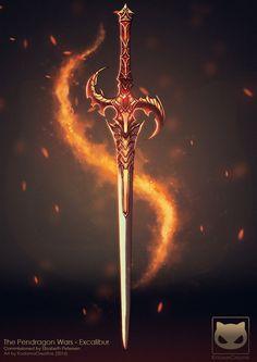 Commission: The Pendragon Wars – Excalibur by KodamaCreative on DeviantArt – katana Fantasy Sword, Fantasy Weapons, Fantasy Rpg, Dark Fantasy Art, Fantasy Artwork, Fantasy Blade, Ninja Weapons, Anime Weapons, Weapons Guns