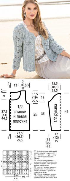 Жакет с кружевным узором - схема вязания спицами. Вяжем Жакеты на Verena.ru
