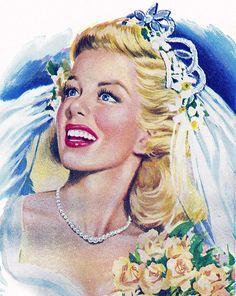 Wedding Illustration, Retro Illustration, Illustrations, Vintage Beauty, Vintage Art, Vintage Ladies, Vintage Fashion, Wedding Art, Wedding Pics