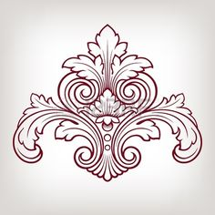 vintage Baroque damask  design frame pattern element engraving retro style photo