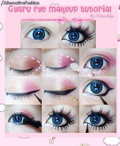 Blue eyes gyaru makeup tutorial.