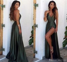 long prom dresses - 2018 Sexy Sheath Hunter Front Split Evening Dresses Elegant Backless Prom Dresses Long Floor Length Cheap V Neck Prom Party Gowns Dope Prom Dresses, Elegant Prom Dresses, Women's Evening Dresses, Backless Prom Dresses, Maxi Dresses, Princess Prom Dresses, Mermaid Prom Dresses, Formal Dresses Online, Party Gowns