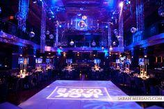 Bar Mitzvah with club atmosphere. Disco balls, crystals, gobo lighting at Edison Ballroom NYC.   By Diana Gould Ltd. Sarah Merians Photography.