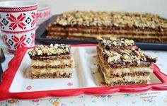 Prăjitura cu foi fragede cu nucă și cremă de lămâie - Rețete Merișor Romanian Desserts, Cheesecakes, Tiramisu, Biscuits, Caramel, Sweet Tooth, Sweet Treats, Dessert Recipes, Food And Drink