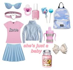 """Daddy's bubblegum dolly (ddlg #1)"" by aliennymphet ❤ liked on Polyvore featuring Essie, Topshop, Wildfox, J.Crew, Yankee Candle, nymphet and ddlg"
