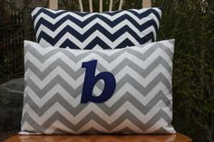 Monogrammed Lumbar Pillow Cover - Grey Chevron and Navy Monogram. $18.99, via Etsy.