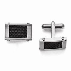 NEW-MENS-STAINLESS-STEEL-BLACK-CARBON-FIBER-RECTANGLE-13-31g-CUFF-LINKS-70