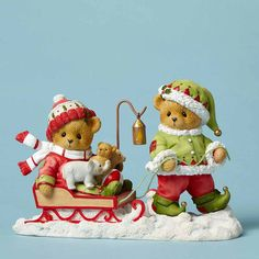 Elf Pulling Sled with Bear