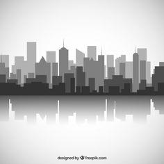 Preto e branco skyline da cidade Vetor grátis