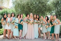 Mismatched bridesmaid dresses are a big trend for 2016! Photo from Glamour Weddings (Photo by: Jillian Rose Photography)