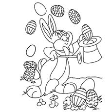 Easter Bunny Entertaining Audience with Magic Show Coloring Page
