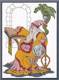 Wizard In Thought - Cross Stitch Pattern