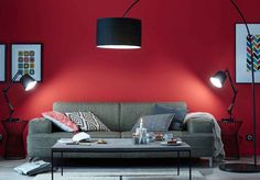 Un salon rouge moderne : Des couleurs chaudes sur les murs du salon - Journal des Femmes