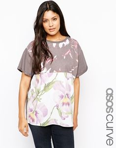 ASOS CURVE T-Shirt with Patchwork Floral