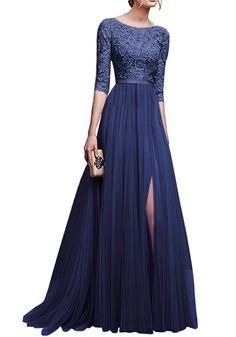 Navy Blue Patchwork Lace Draped Side Slit Round Neck Elbow Sleeve Maxi Dress