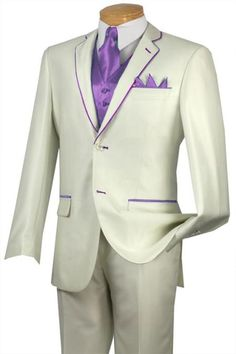 #Solid #white or #Ivory with #lavender #trim #microfiber #two #button #notch #lapel #tuxedo.$585