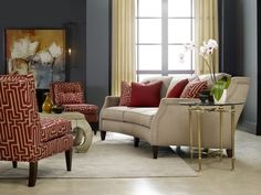 A-maze-ing: Cinnabar red in a high-energy pattern is balanced by serene, Asian-inspired accents. Modern art brings in more autumn hues without being matchy-matchy. Photo: Sam Moore Furniture.