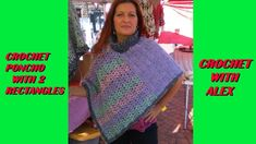 CROCHET PONCHO WITH 2 RECTANGLES TUTORIAL ANY YARN AND HOOK SIZE