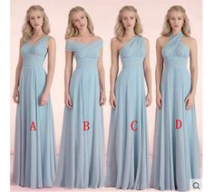 New Arrival Chiffon Long Bridesmaid Dress,Convertible Elegant Halter Bridesmaid Dress,blue