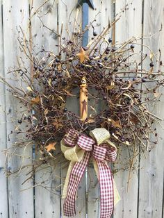 "24"" Burgundy Pipberry  Wreath with Rusty Tin Stars and Timer Candle"