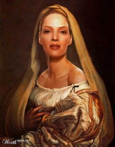 Modern celebrities in famous paintings - love this one of cousin Uma