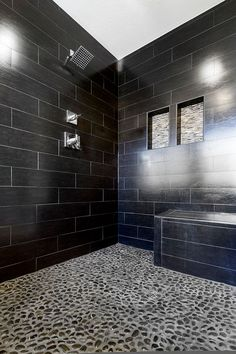 Contemporary Master Bathroom with Daltile Yacht Club Bridge Deck 6 in. x 24 in. Glazed Porcelain Floor and Wall Tile