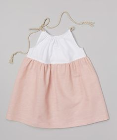 Another great find on #zulily! Cream Coral White & Blush Linen-Blend Dress - Infant, Toddler & Girls by Cream Coral #zulilyfinds