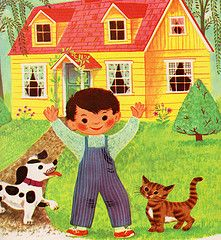 Homes - written & illustrated by Virginia Parsons Vintage Boys, Vintage Children's Books, Collages, Vintage Illustration Art, Book Illustrations, Old Children's Books, Storybook Cottage, Retro Baby, Pictures To Draw