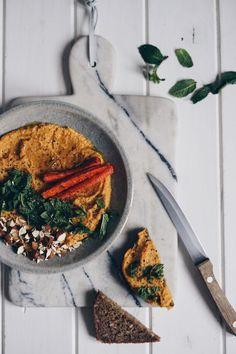 Pomazánka z červené čočky Tahini, Grill Pan, Hummus, Risotto, Grilling, Ethnic Recipes, Kitchen, Food, Griddle Pan