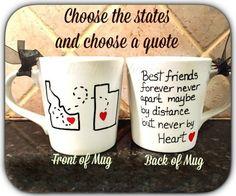 Best friend mug, quote mug, unique coffee mug, going away gift, state to state coffee mug,long distance mug, moving away gift
