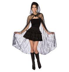 Werdet mit diesem schaurig-schönen Spitzen-Umhang zur gefährlichen Spinne! Ob zum kurzen schwarzen Kleid oder zur Schwarzen Hose mit T-Shirt, dieser Umhang verwandelt jedes Outfit zum Halloween-Kostüm.