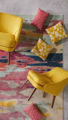 Go bright and bold this spring with refreshingly beautiful living room furniture. - Go bright and bold this spring with refreshingly beautiful living room furniture from Overstock, wh - Living Room Furniture, Living Room Decor, Diy Furniture Videos, Lemon Kitchen Decor, Smart Home Design, Living Room Accents, Applis Photo, Beautiful Living Rooms, Colorful Furniture