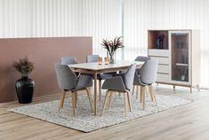 FLEX Spisestol i grått tekstil med hvitpigmentert og lakkerte eikeben