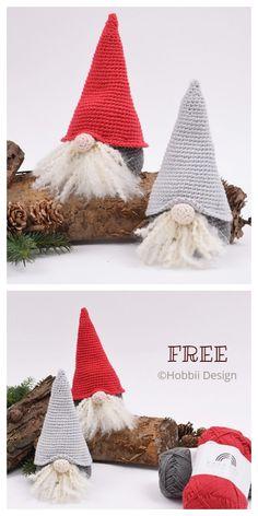 Crochet Christmas Decorations, Crochet Decoration, Christmas Crochet Patterns, Holiday Crochet, Crochet Crafts, Crochet Dolls, Yarn Crafts, Crochet Projects, Christmas Gnome