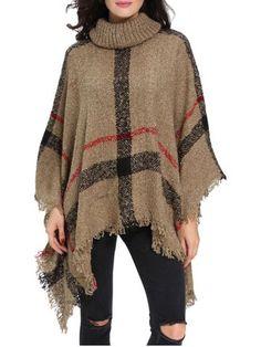 Turtleneck Fringed Knit Poncho 26$