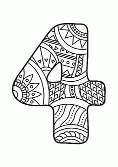 Number 4 Zentangle coloring page from Zentangle Numbers category. Select from 25143 printable crafts of cartoons, nature, animals, Bible and many more. Free Printable Coloring Pages, Coloring Book Pages, Coloring Sheets, Coloring Pages For Kids, Printable Numbers, Printable Crafts, Printables, Funny Numbers, Counting For Kids
