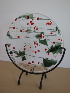 Glass Fusion Art piece - decorate for the Holidays~